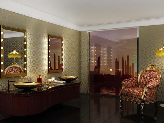 Unica golden frame lighted mirror