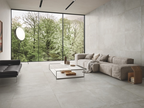 Cement-effect porcelain stoneware with bold, modern appeal