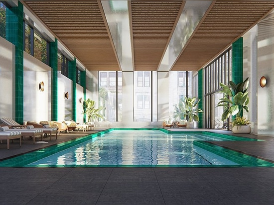 the 75-foot indoor saltwater lap pool has an adjoining outdoor sundeck