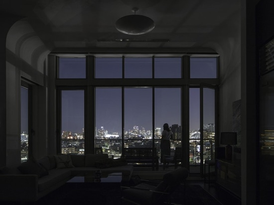 living room view at night