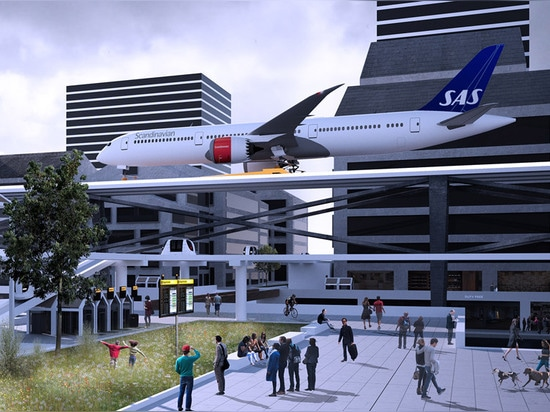Travelers can reach the fully integrated urban airport via Personal Rapid Transit (PRT), a system of transit pods that run alongside the rails that would transport passengers to the aircraft gates....