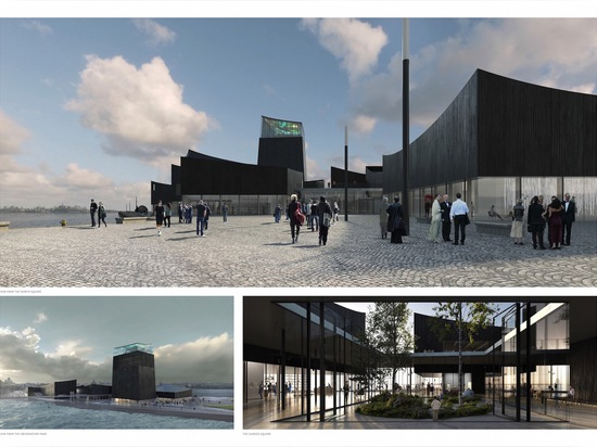 Guggenheim Helsinki is designed as a collection of charred-timber-clad pavilions and landscaped plazas organized around a central pedestrian street.   Read more: Moreau Kusunoki Architectes' 'Art i...