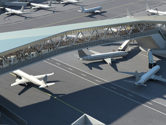 gate connections will occur via an overhead walkway, allowing for increased plane mobility