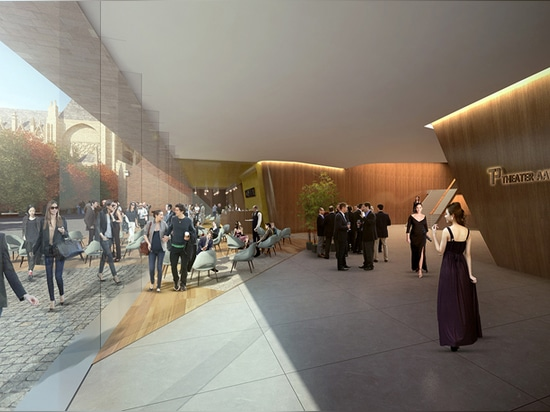 the public foyer runs level to the 'parade', enabling the theater to form a natural extension of the public square