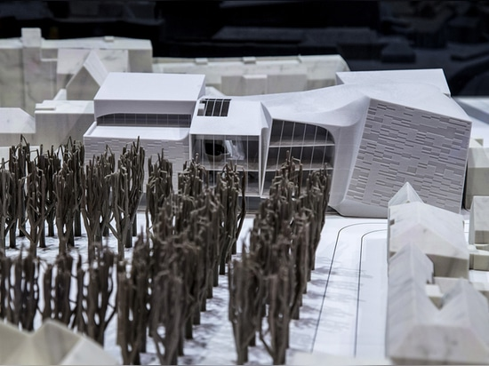 model of the proposed theater in context