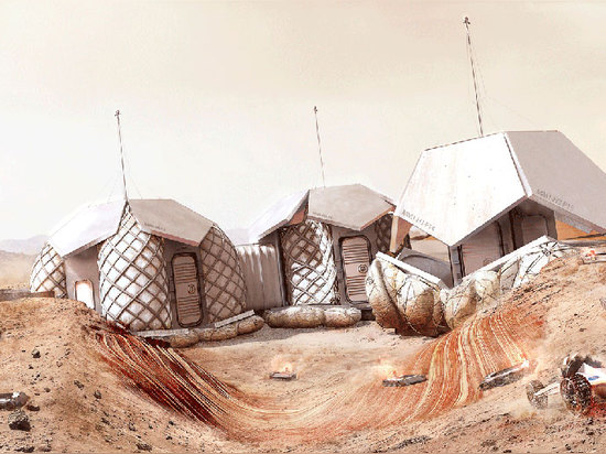 the semi-autonomous robots select the site + dig deep crater, followed by a second delivery of the inflatable modules
