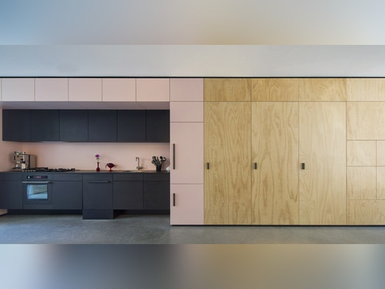 the arch-shape makes room for a recessed kitchen in black MDF