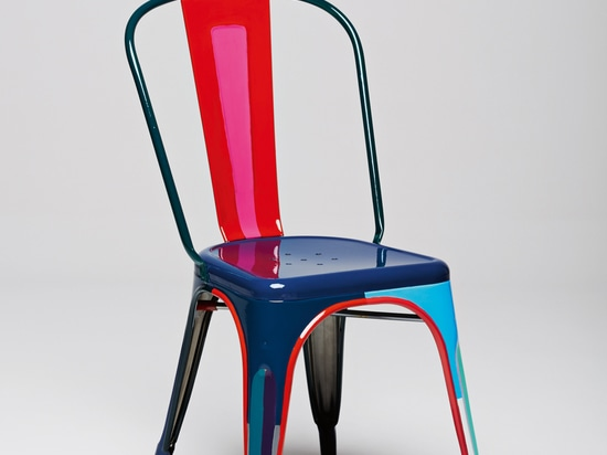 Julie Richoz is a Swiss-French designer and the youngest participant. She brought out all of the invisible details and unseen volume of the chair by hand-painting it in a bright pallet of colors.