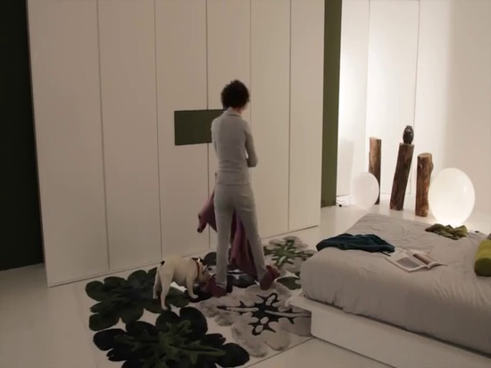 Armadio Dream con porta tv Ghost estraibile ed orientabile - Letto Plissè - armadi moderni design