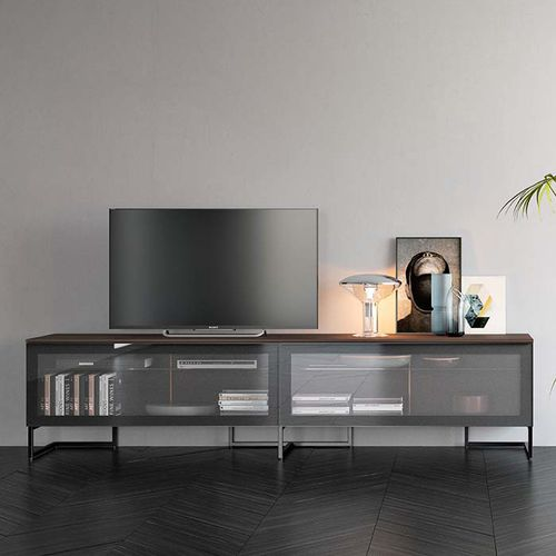 コンテンポラリーテレビキャビネット / 漆木材 / ガラス製
