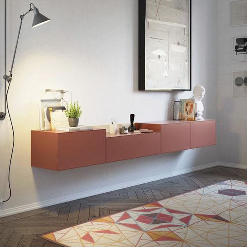 壁取り付け式サイドボード / コンテンポラリー / 漆木材 / オーク材