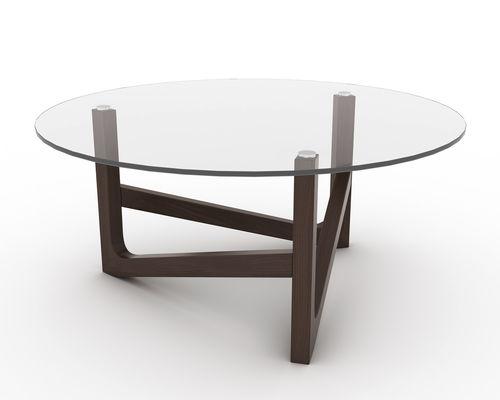 コンテンポラリーコーヒーテーブル / 木製 / ガラス製 / 円形