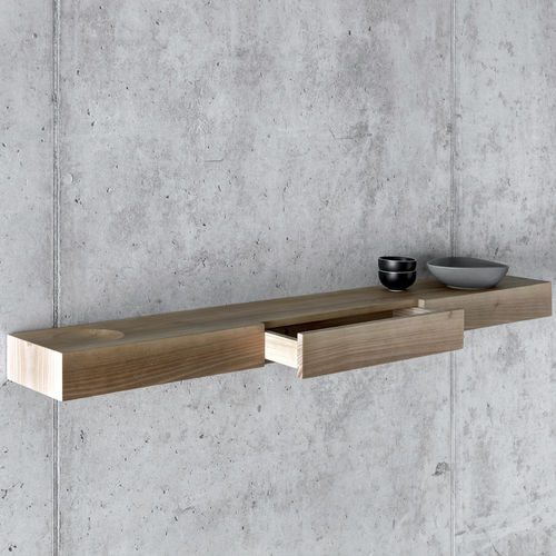 壁取り付け式棚 / コンテンポラリー / クルミ材 / 引き出し付き