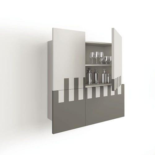 壁取り付け式サイドボード / コンテンポラリー / オーク材 / 漆塗りを施したMDF