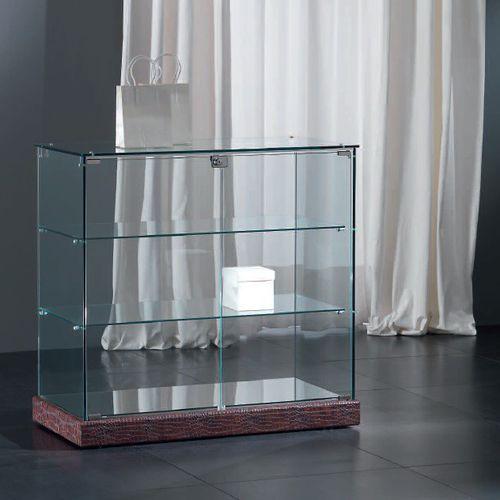 コンテンポラリー展示ケース / 脚上 / ガラス製 / ロー