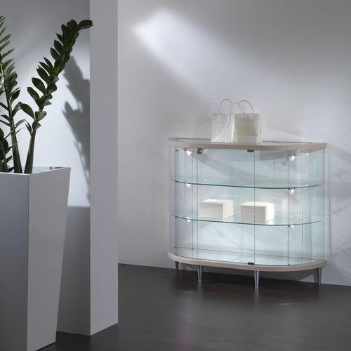 コンテンポラリー展示ケース / 脚上 / ガラス製 / オーク材