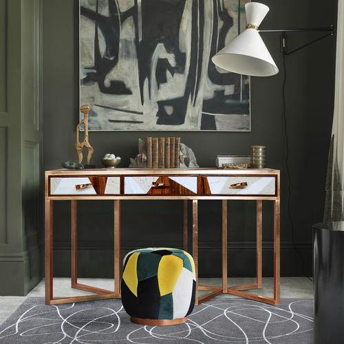 コンテンポラリーサイドボードテーブル / 木製 / 銅製 / 大理石製