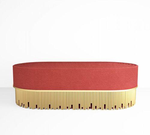 コンテンポラリー布張りベンチ / ポリッシュ真鍮製 / ベロア製 / 業務用