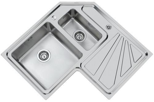 2槽流し台 / ステンレススチール製 / コーナー / 水切り付