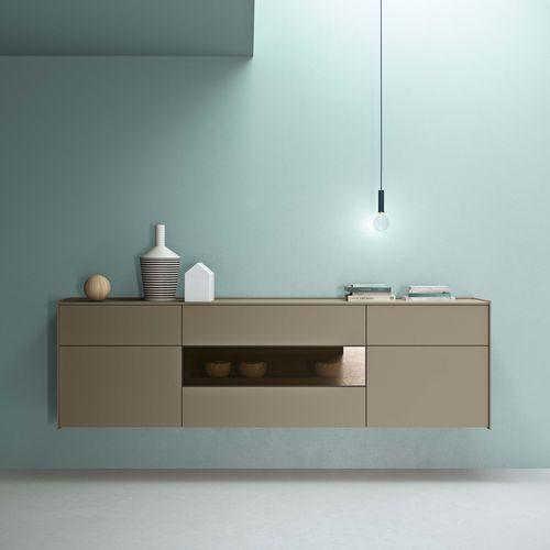 壁取り付け式サイドボード / コンテンポラリー / 漆木材 / 茶色