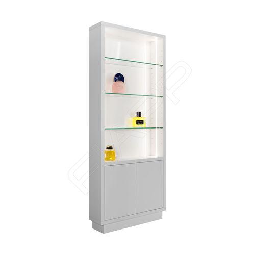 コンテンポラリー展示ケース / ガラス製 / 木製 / 照光式
