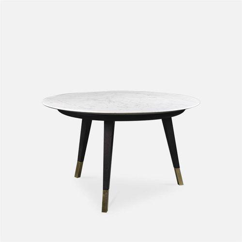 コンテンポラリーコーヒーテーブル / ブナ材製 / 大理石製 / 円形