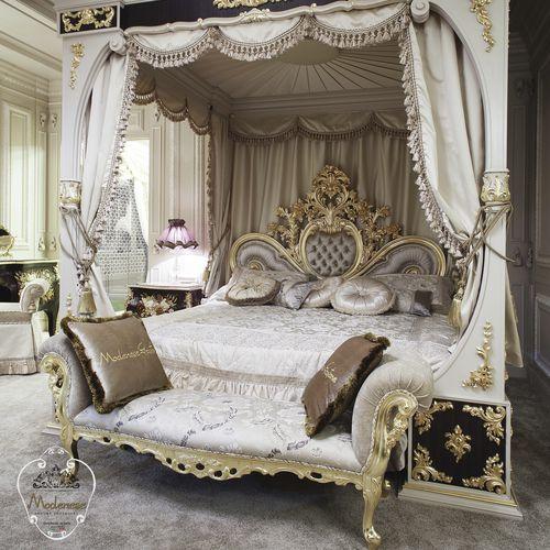 伝統的ベッドベンチ / 布製 / 木製 / 家庭用