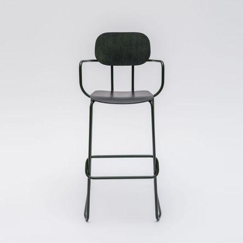 コンテンポラリーバ-チェア / 布張り / フットレスト付き / 肘掛け付き