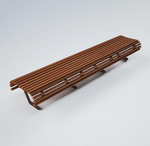 公共ベンチ / コンテンポラリー / 木製 / 塗装金属製