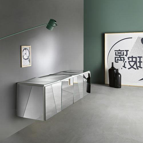 壁取り付け式サイドボード / コンテンポラリー / ガラス製