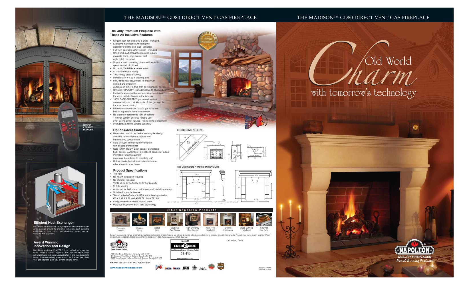 Efficiency of gas fireplace - Madison Direct Vent Gas Fireplace 1 2 Pages