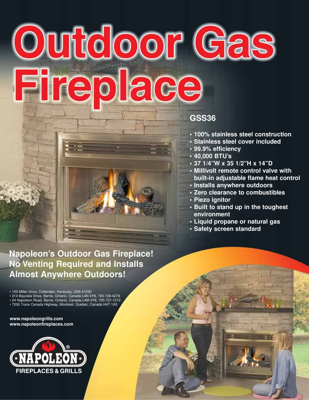outdoor fireplace and patioflame brochure napoleon fireplaces