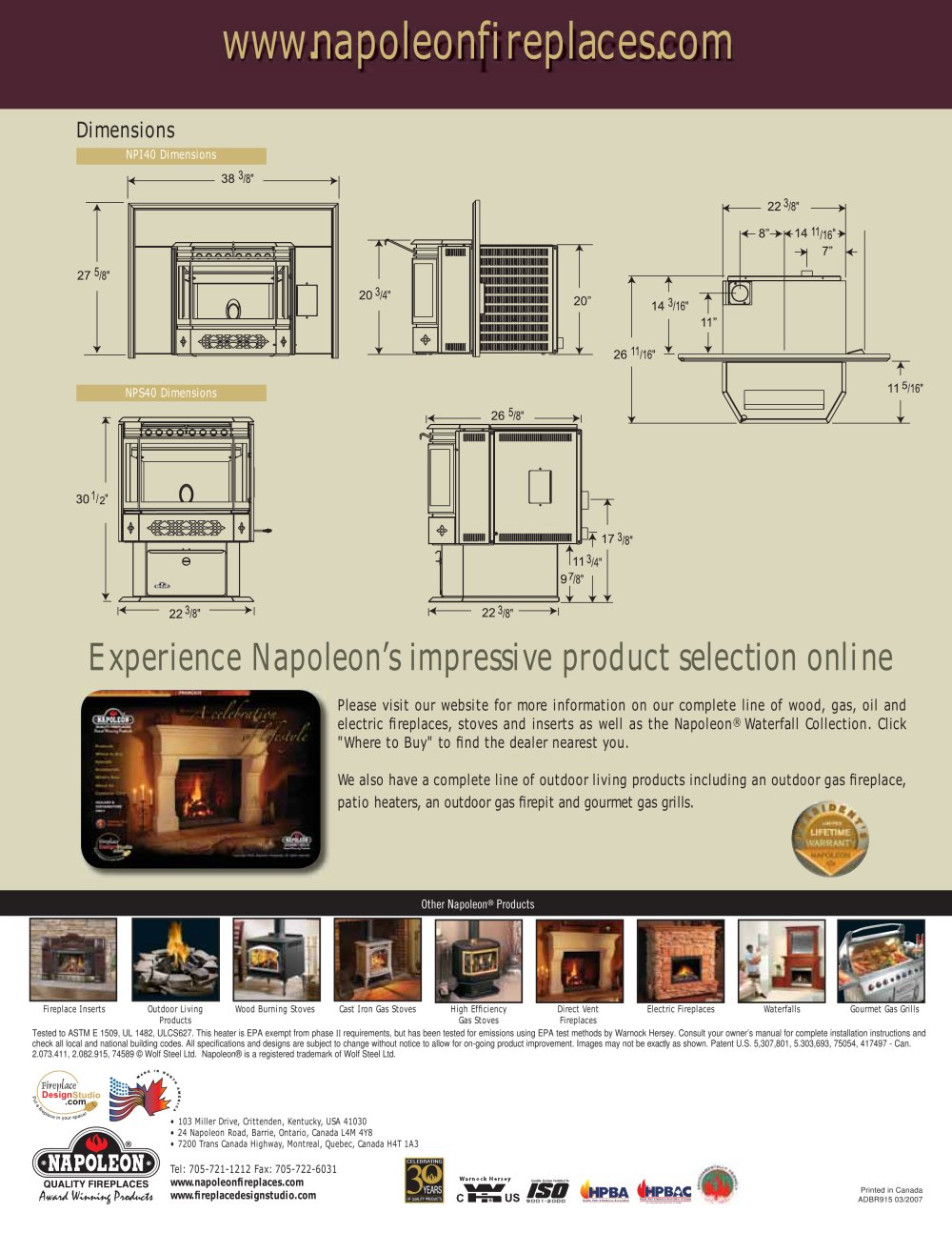 Pellet Stoves by Breckwell - Gas Stove's Specifications