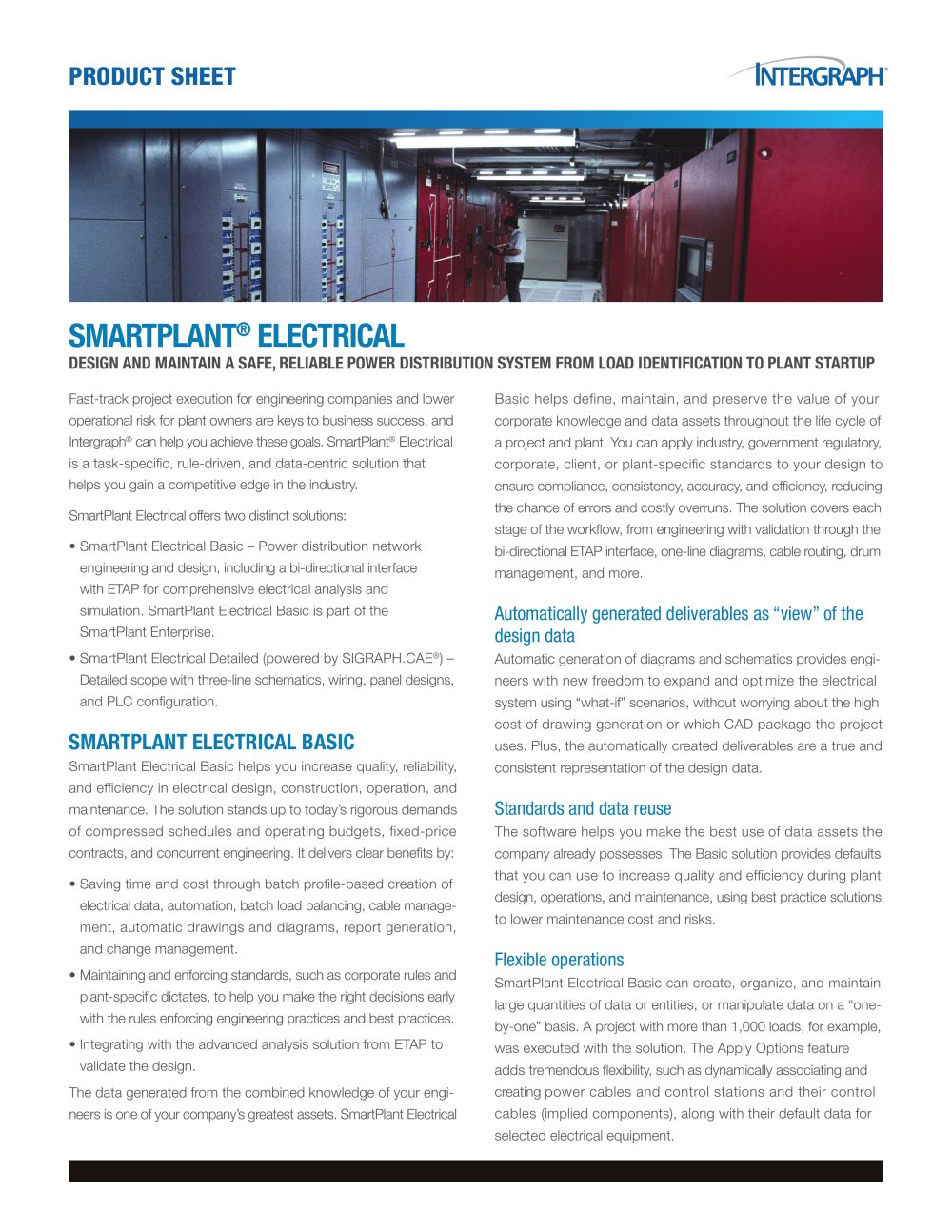 Smartplant Electrical Product Sheet Intergraph Pdf Catalogues Cad Drawings 1 2 Pages