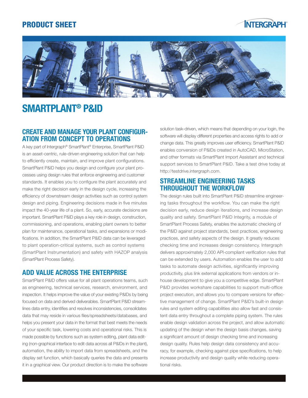 SmartPlant P&ID Product Sheet - 1 / 2 Pages