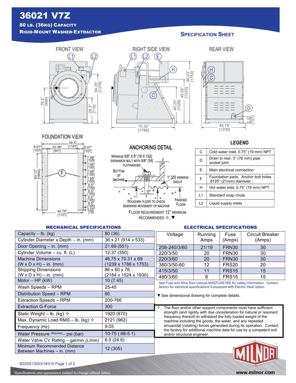 36021v7z Milnor Pdf Catalogues Documentation Brochures Dryer Wiring Diagram 1 2 Pages