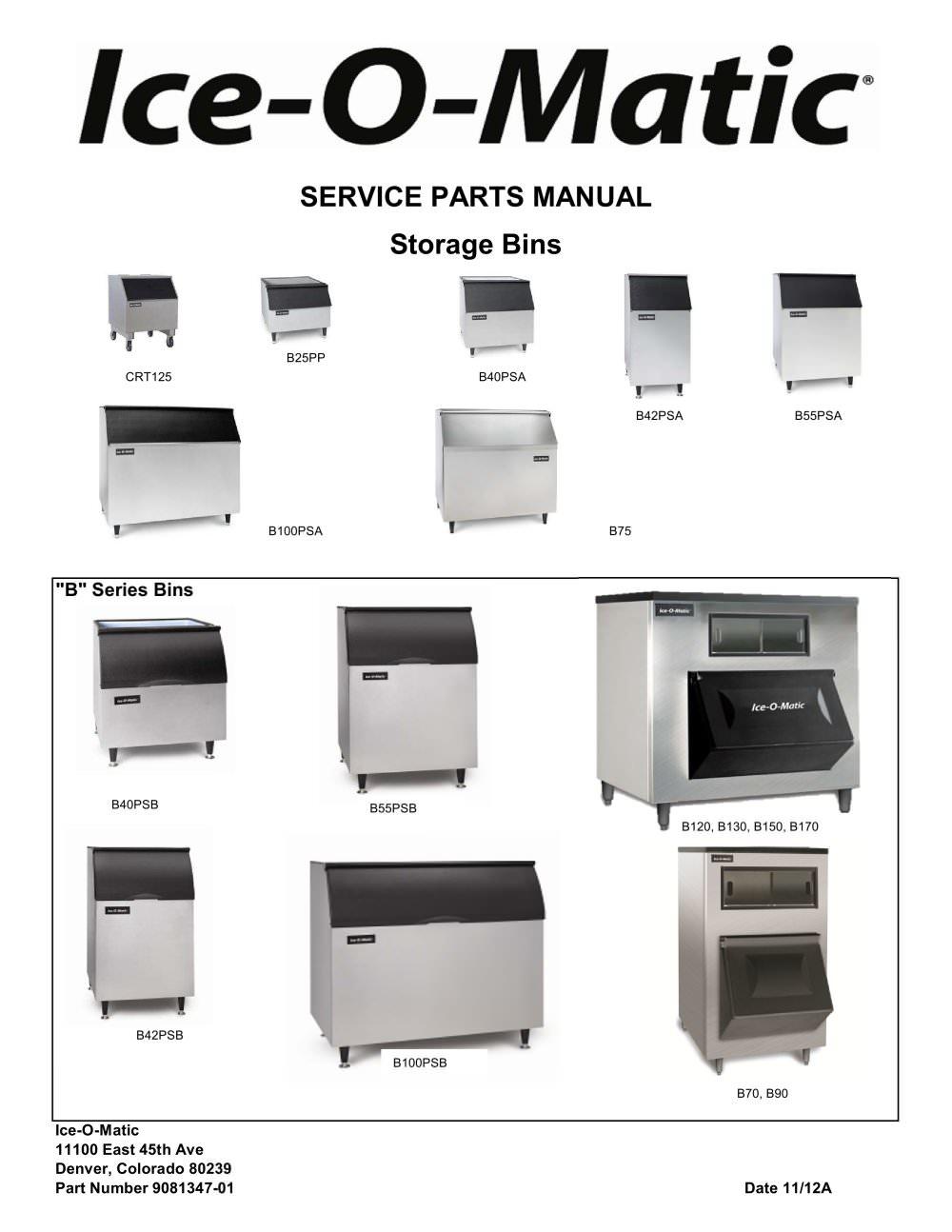 B100 Storage Bin - Parts Manual - 1 / 13 Pages