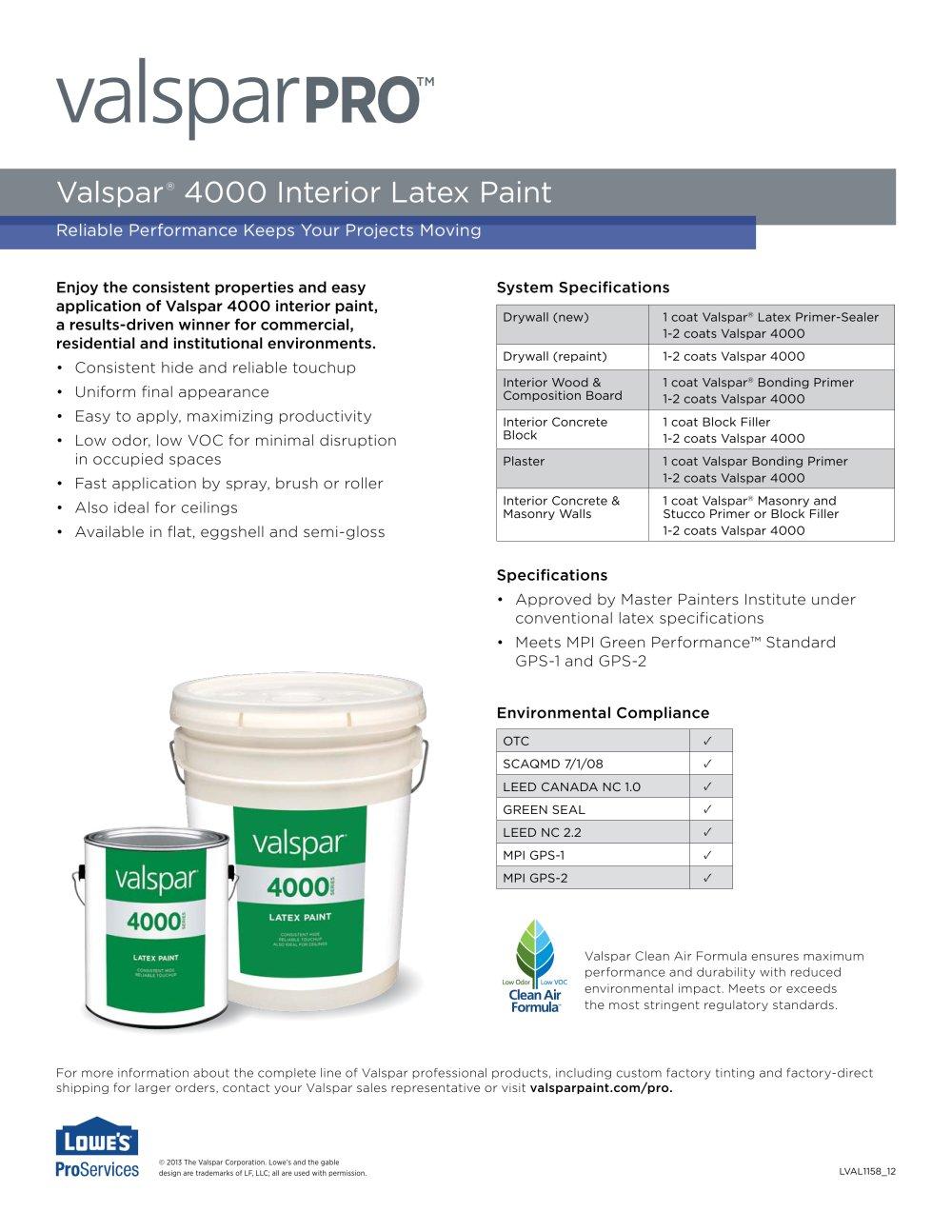 Valspar 4000 Interior Latex Paint 1 2 Pages
