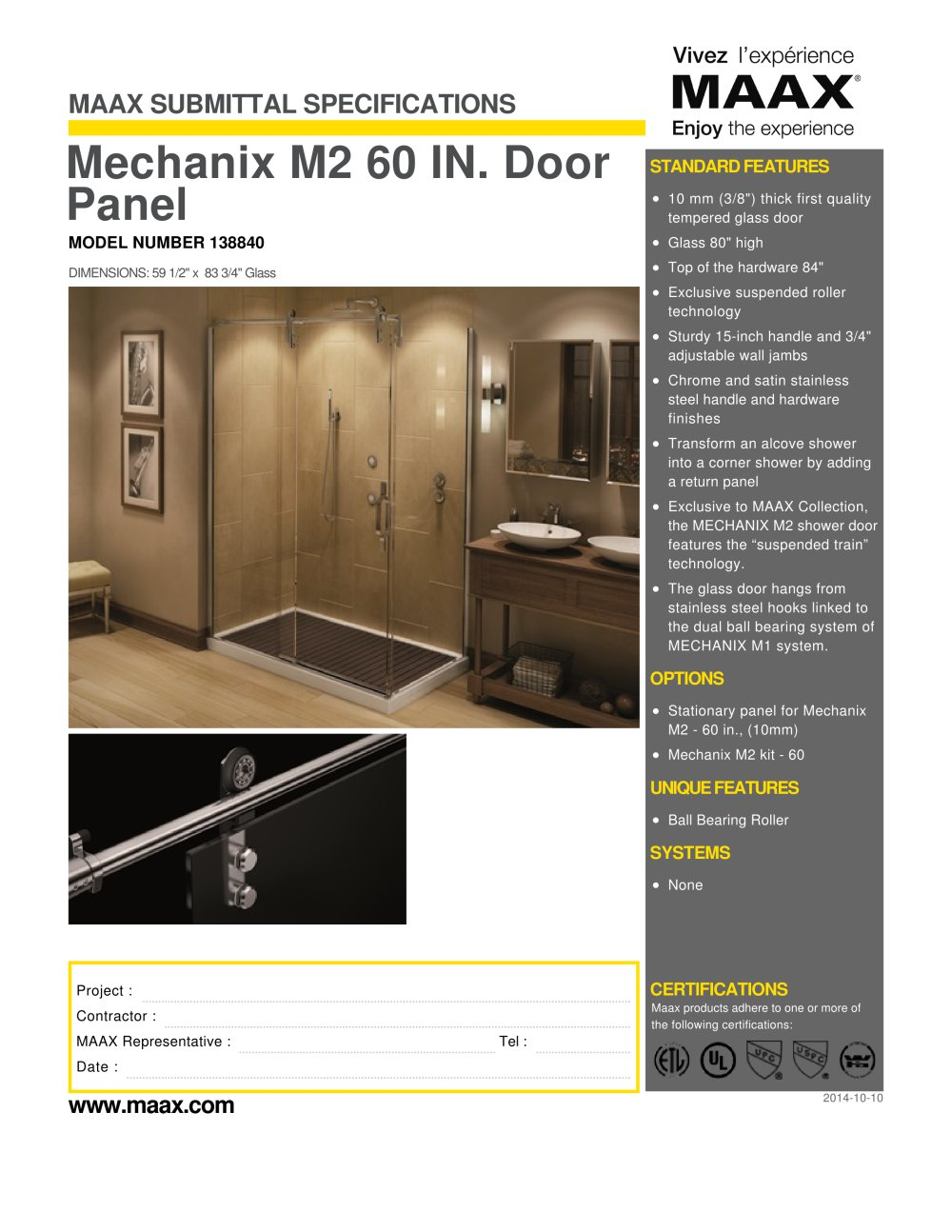 Mechanix M2 60 IN. Door Panel - MAAX bathroom - PDF Catalogues ...