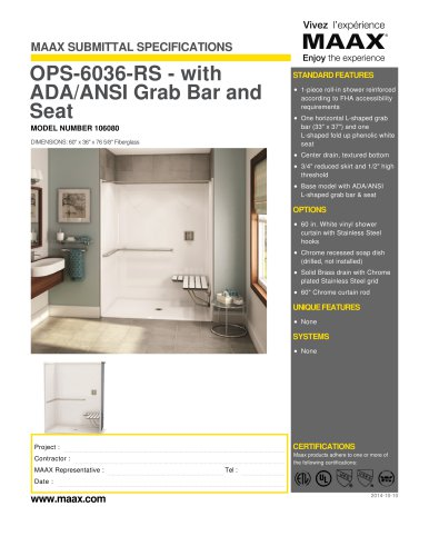 OPS-6036-RS - with ADA/ANSI Grab Bar and Seat