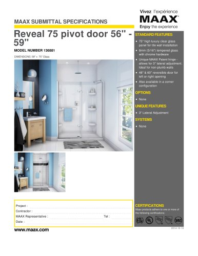 "Reveal 75 pivot door 56"" - 59"""