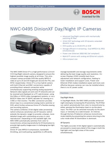 NWC-0495 DinionXF Day/Night IP Cameras