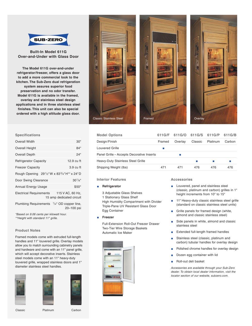 611g Glass Door Sub Zero Pdf Catalogues Documentation Brochures
