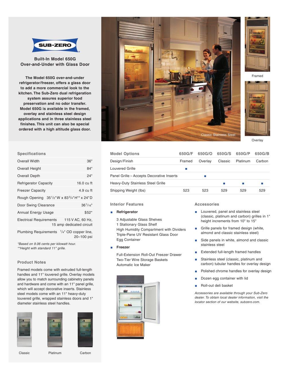 650g Glass Door Sub Zero Pdf Catalogues Documentation Brochures