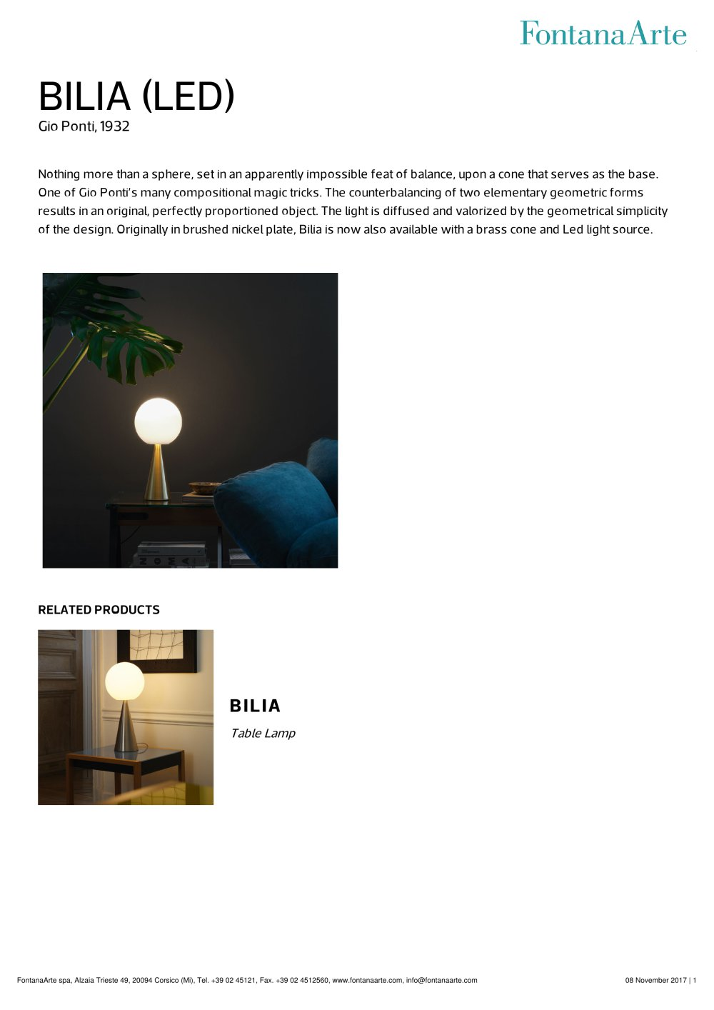BILIA (LED) - FontanaArte - PDF Catalogues | Documentation | Brochures