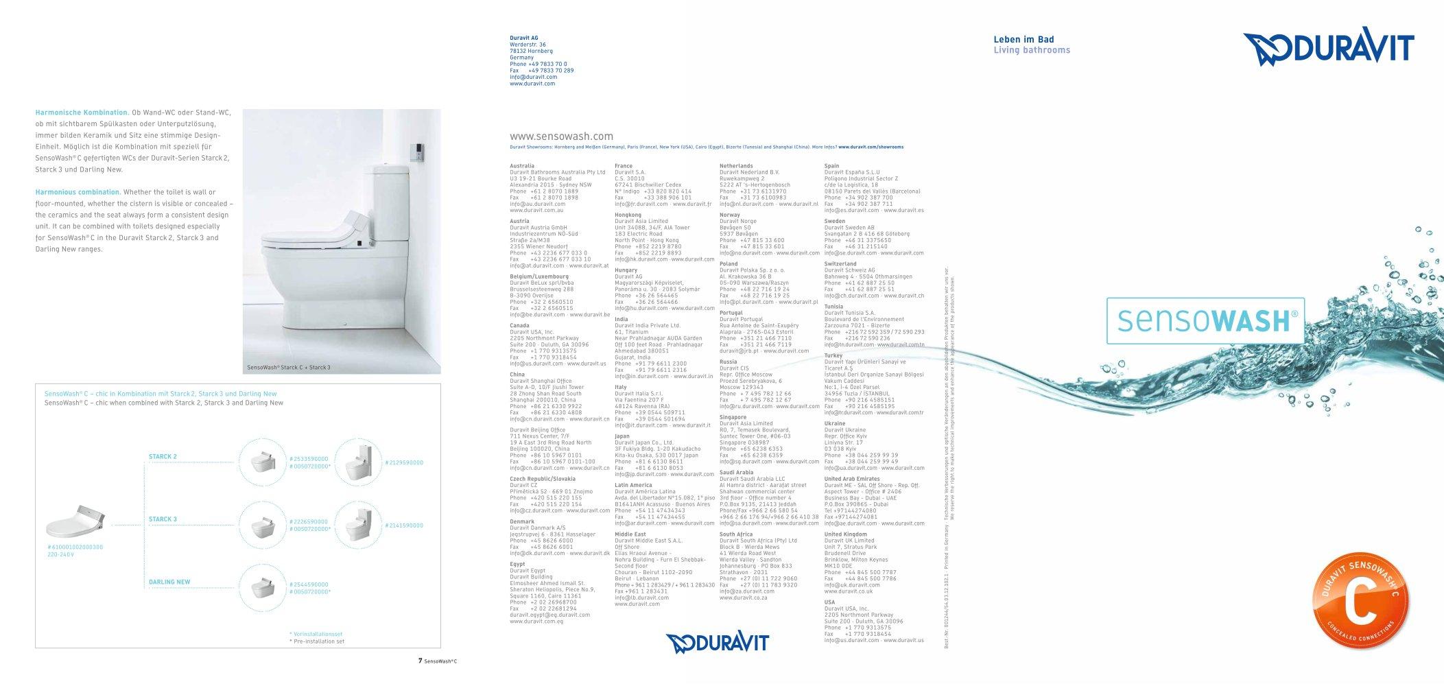 Duravit Sensowash sensowash duravit pdf catalogues documentation brochures