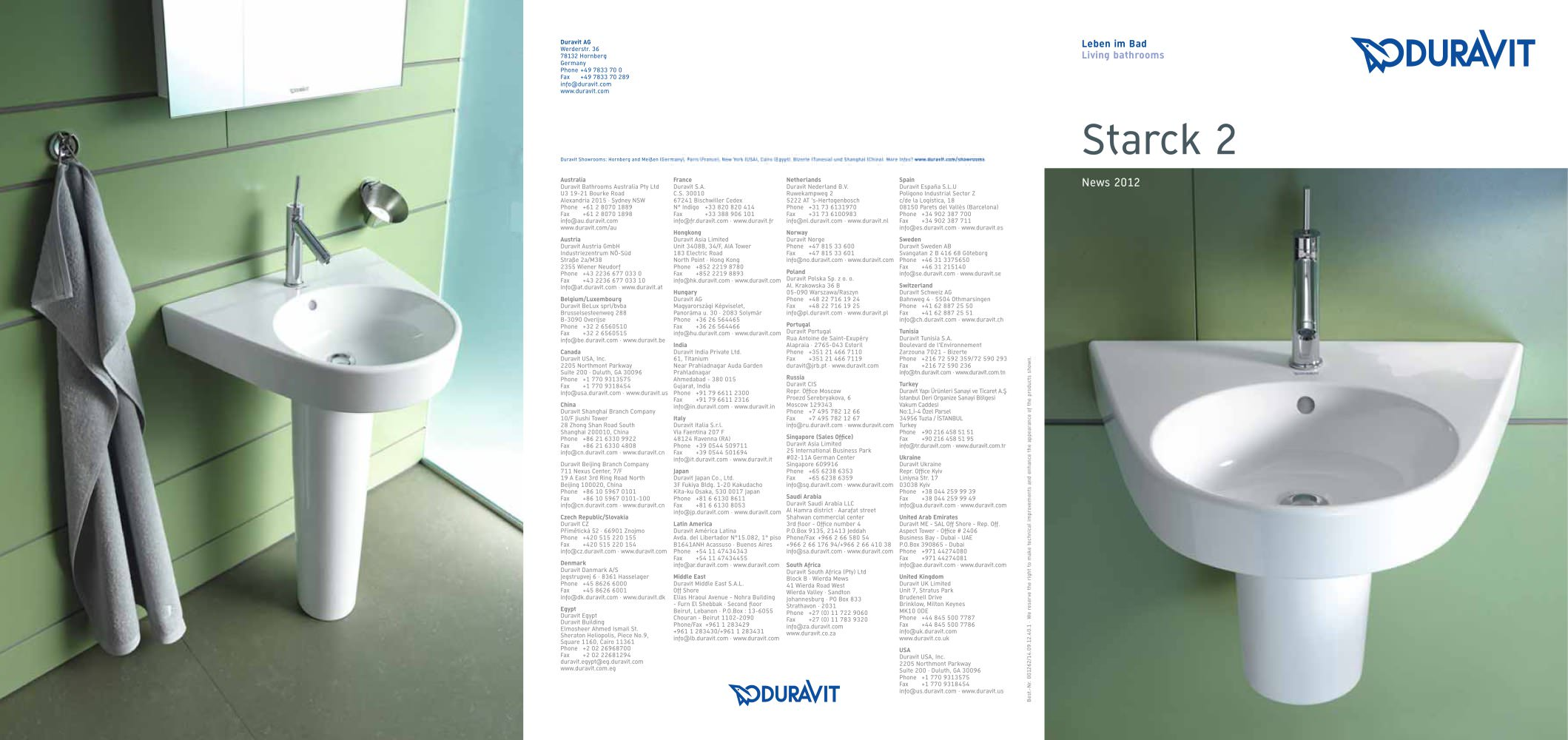 Starck 2 - DURAVIT - PDF Catalogues | Documentation | Brochures