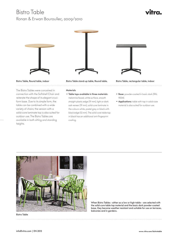 Merveilleux Bistro Table Factsheet   1 / 2 Pages