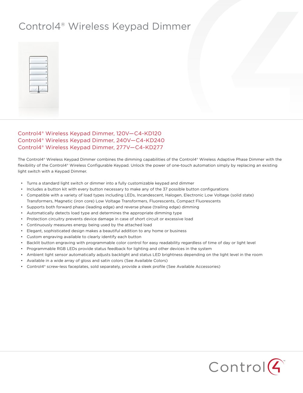 Wireless Keypad Dimmer - 1 / 3 Pages  sc 1 st  Catalogues Archiexpo & Wireless Keypad Dimmer - Control4 - PDF Catalogues   Documentation ...