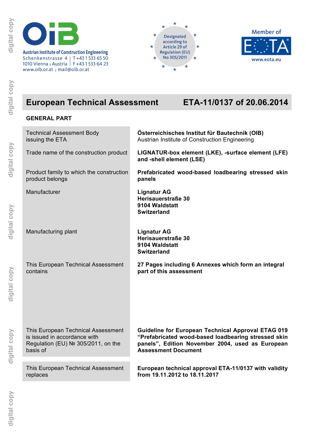 European Technical Assessment - Lignatur - PDF Catalogues ...